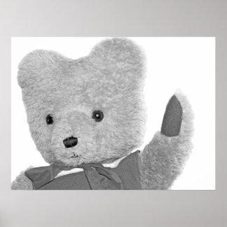 Teddy Bear Waving, Head / Shoulders, B & W Poster