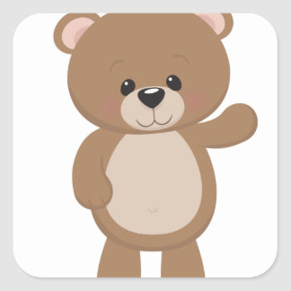 Teddy Bear Waving Square Sticker