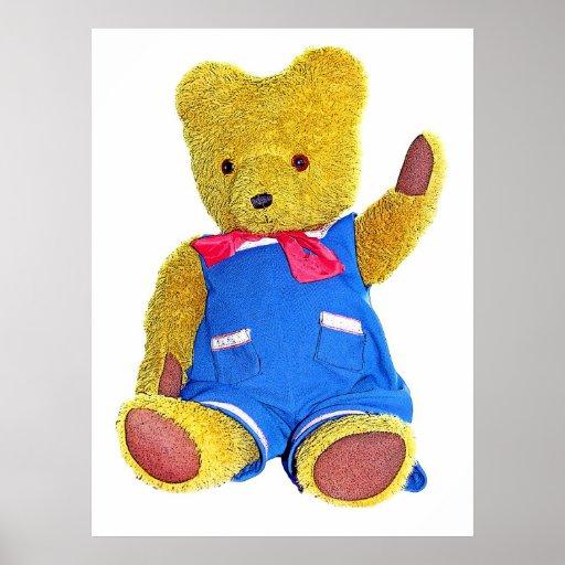 Teddy Bear Waving - Style 2 Poster