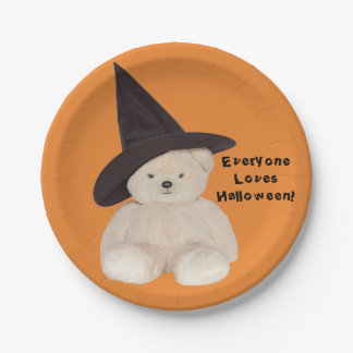 Teddy Bear Wearing a Black Witch Hat Paper Plate