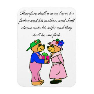 Teddy Bear Wedding Scripture Rectangle Magnets