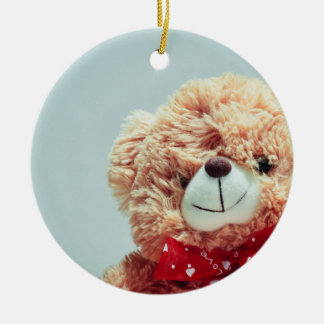 Teddy Bear with a Red Bow Ceramic Ornament