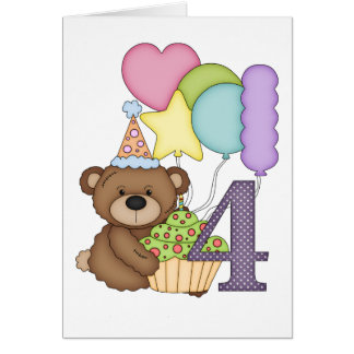 Teddy Bear with Balloons Kids Fourth Birthday Card