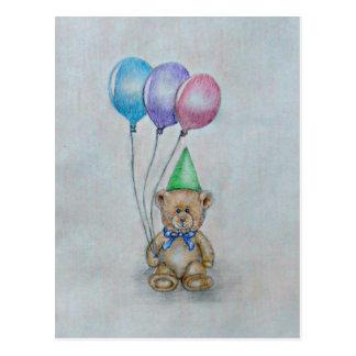 teddy bear with balloons postcard