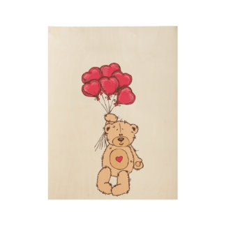 Teddy bear with balloons wood poster
