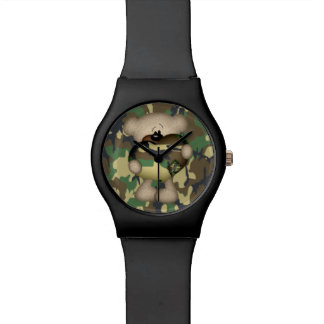 Teddy Bear With Big Camo Heart Watch