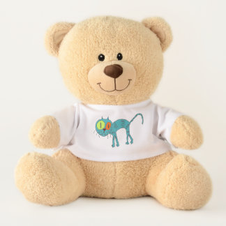 Teddy bear with blue cat on his shirt
