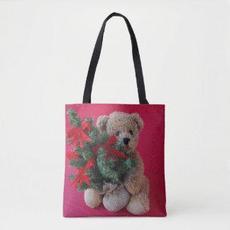 Teddy bear with Christmas tree Tote Bag