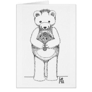 Teddy Bear with Flowers Card