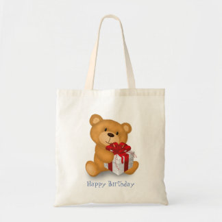 Teddy Bear with Gift - Happy Birthday Budget Tote