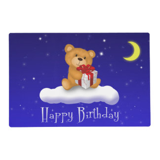 Teddy Bear with Gift - Happy Birthday Placemat