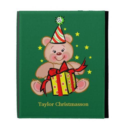 Teddy Bear With Gift Merry Christmas Holiday iPad Folio Case