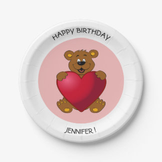 Teddy bear with heart cartoon kids birthday name paper plate