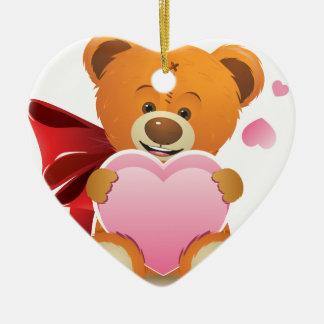 Teddy Bear with Heart Ceramic Heart Decoration