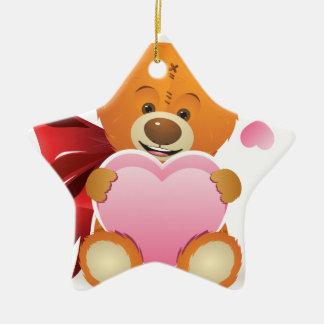 Teddy Bear with Heart Ceramic Star Decoration