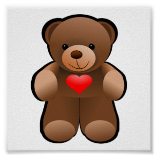 Teddy Bear with Heart Drawing Poster