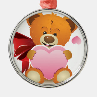 Teddy Bear with Heart Silver-Colored Round Decoration