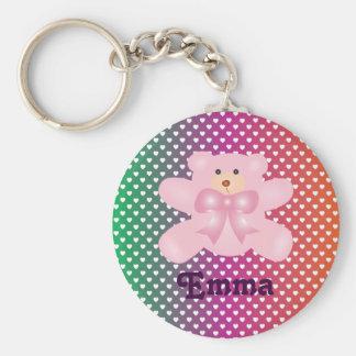 Teddy Bear With Hearts Polka Dot Pattern Key Ring