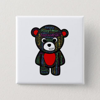 Teddy bear with inspirational text clipart 15 cm square badge