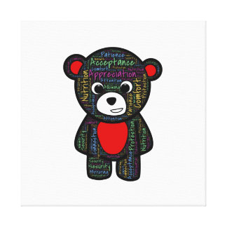 Teddy bear with inspirational text clipart canvas prints