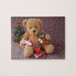 Teddy bear with many Christmas gifts Jigsaw Puzzle