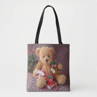 Teddy bear with many Christmas presents Tote Bag