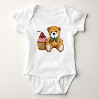 Teddy Bear with Pink Cupcake, Cherry, Original Art Baby Bodysuit