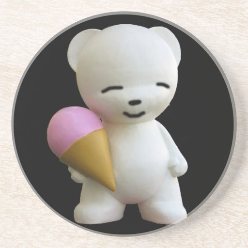 Teddy Bear with Pink Ice Cream Drink Coasters