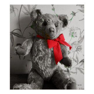 Teddy Bear with Red Bow Poster