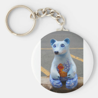 Teddy Bear with Rubber Ducky! Basic Round Button Key Ring