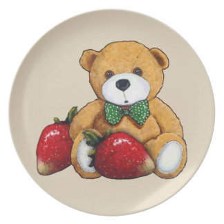 Teddy Bear With Strawberries, Original Colorful Plate