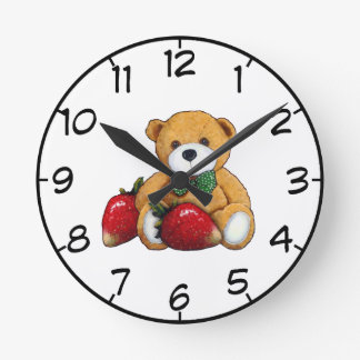 Teddy Bear With Strawberries, Original Colorful Round Clock
