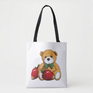 Teddy Bear With Strawberries, Original Colorful Tote Bag