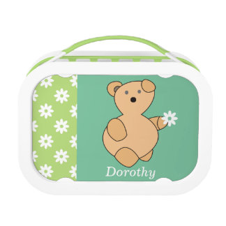 Teddy Bear with White Flower Custom Lunch Boxes