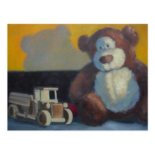 Teddy bear with wooden truck postcard