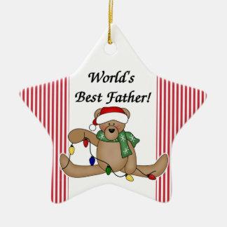 Teddy Bear World s Best Father Ornament
