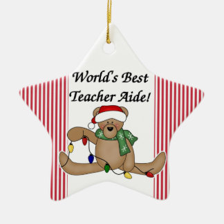 Teddy Bear World's Best Teacher Aide Ornament