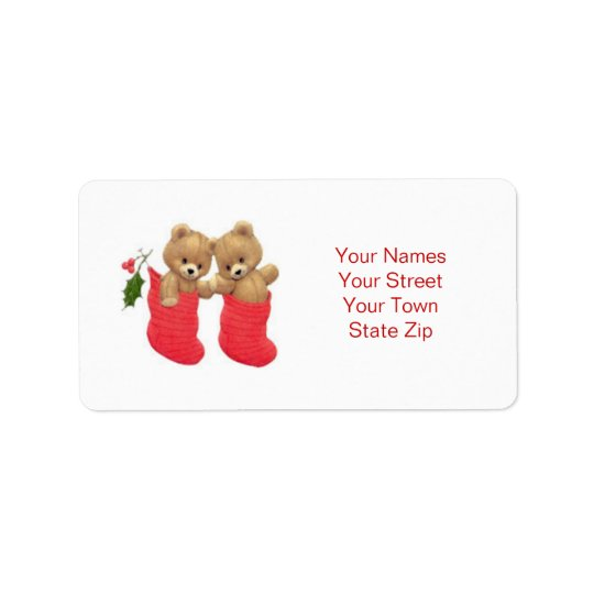 Teddy bears and stockings Christmas Label Address Label