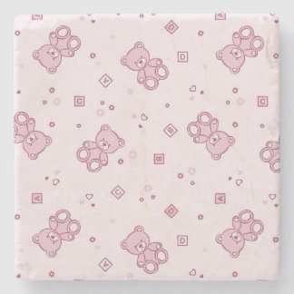 Teddy bears background Pink Stone Beverage Coaster