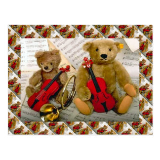 Teddy bears, bearly tmusicians postcard