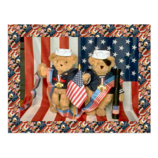 Teddy bears, bearly veterans, American patriotic Postcard