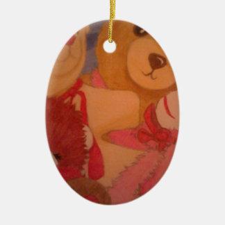 teddy bears ceramic oval decoration