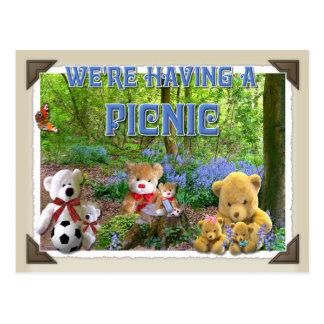 TEDDY BEARS PICNIC ~ Invitation Postcard