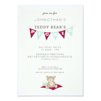 Teddy Bear's Picnic - Red & Blue 13 Cm X 18 Cm Invitation Card