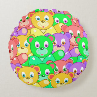 TEDDY BEARS PILLOW, Cute Kids Pattern Round Cushion