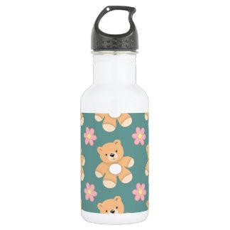 Teddy Bears & Pink Flowers on Blue 532 Ml Water Bottle