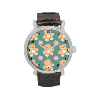 Teddy Bears & Pink Flowers on Blue Watches