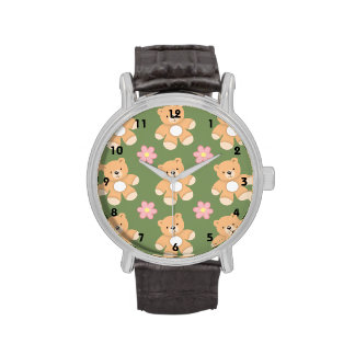 Teddy Bears & Pink Flowers on Sage Green Watch