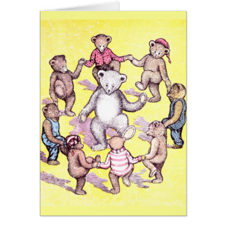 Teddy Bears Play Ring Around the Rosie Card