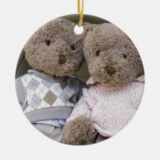 teddy bears round ceramic decoration